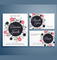 wedding invitation suite set with flower vector image
