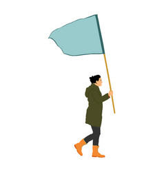 Woman walking with flag protester wanted rights vector