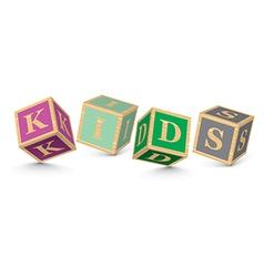 Word KIDS written with alphabet blocks vector