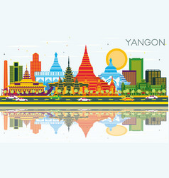 Yangon myanmar city skyline with color buildings vector