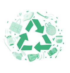 Zero waste recycled symbol hand drawn vector