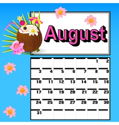 calendar for August with coconut cocktail vector image vector image