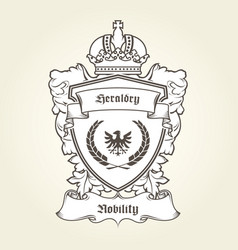 coat of arms template with heraldic eagle shield vector image vector image