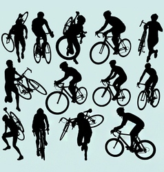 cyclocross racing silhouettes vector image vector image