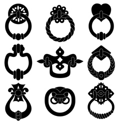 Door handle silhouettes vector