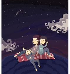 Family watching stars on the hill vector image vector image
