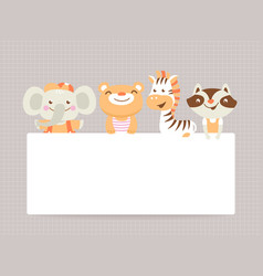 greeting card template with funny animals vector image vector image