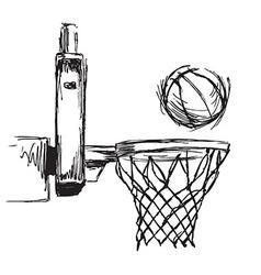 Hand sketch basketball hoop and ball vector