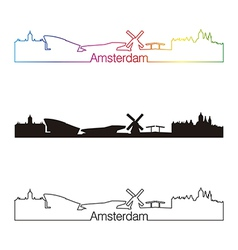 Amsterdam skyline linear style with rainbow vector image
