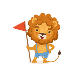 cute cartoon lion character standing with flag in vector image