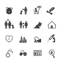 dog life story icons set flat design for vector image