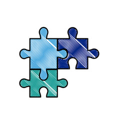 Drawing puzzle pieces object shape work vector