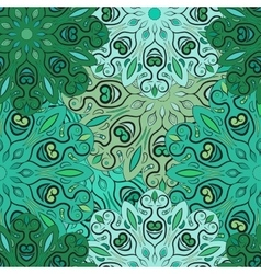 Green seamless pattern with flowery vector image vector image