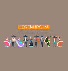 mexican dancers group in traditional mexico vector image