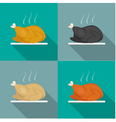 side view roast whole chicken turkey duck vector image vector image