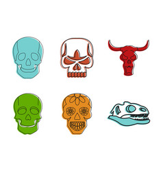 skull icon set color outline style vector image