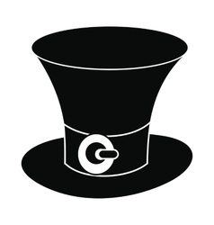 St Patricks Day hat black simple icon vector image vector image