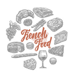 hand drawn french food elements set vector image vector image