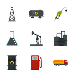 Oil and gas industry icons set flat style vector