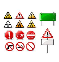 road signs and triangular warning hazard signs vector image