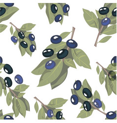 seamless pattern olive branch on white background vector image vector image