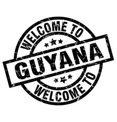 welcome to guyana black stamp vector image vector image