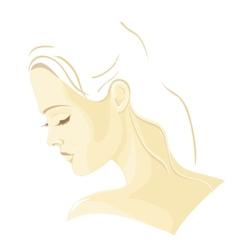 Beautiful girl in profile vector image