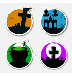 Design stickers icons on Halloween vector image
