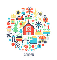 garden flat infographics icons in circle - color vector image vector image