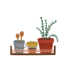 herbs spices containers and kitchenware utensil vector image