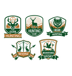 hunting club icons or badges set vector image