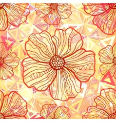 Ornate orange flowers on abstract triangles vector image vector image