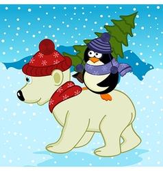 penguin holding spruce on polar bear vector image vector image
