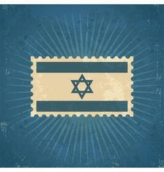Retro Israel Flag Postage Stamp vector image vector image