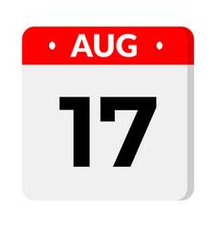 17 august calendar icon vector