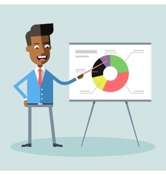 African american manager gives presentation vector image