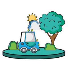 agrimotor car in the city with tree and sun vector image