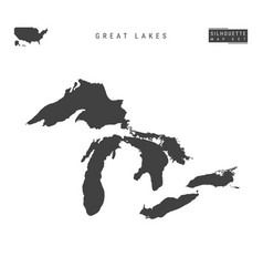 All great lakes map isolated on white vector