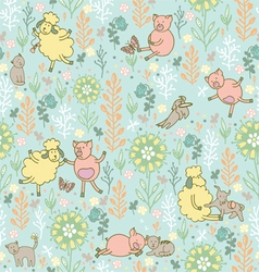 animals in the meadow seamless pattern vector image