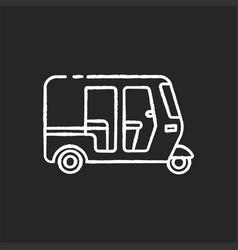 Auto rickshaw chalk white icon on black background vector