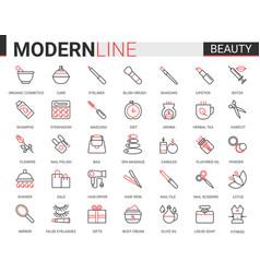 beauty cosmetics flat icon set vector image