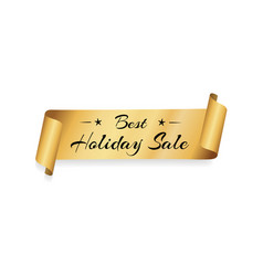 best holiday sale gold label ribbon isolated white vector image