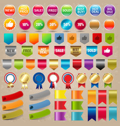 big collection sale stickers and web ribbon set vector image