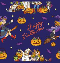blue seamless pattern with cartoon halloween vector image