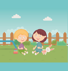 Boys sitting in backyard with toys vector
