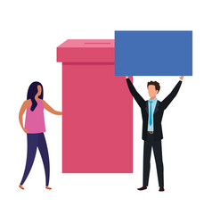 Business couple with ballot box isolated icon vector