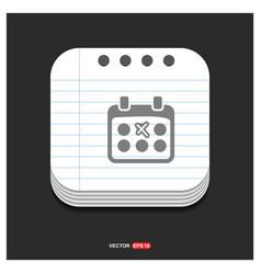 calendar icon gray icon on notepad style template vector image