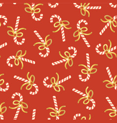 candy cane seamless pattern gold foil red vector image