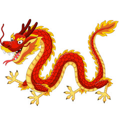 Cartoon red chinese dragon flying vector