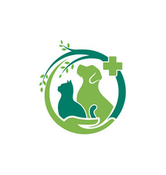 Cat and dog logo design template vector